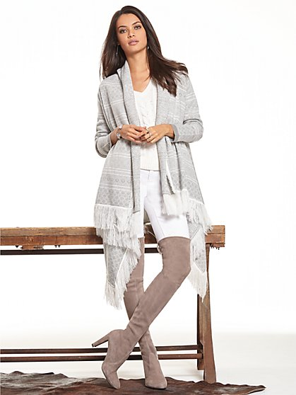 Fringed Open-Front Cardigan - Print - New York & Company