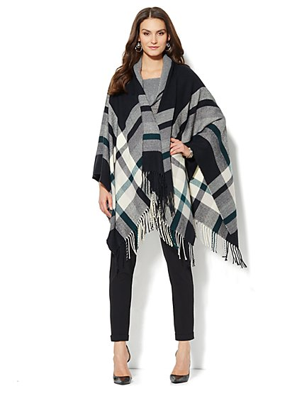 Fringed Plaid Blanket Cape - New York & Company