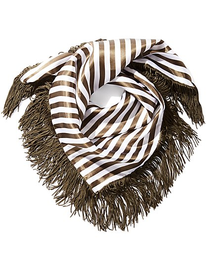 Fringed Stripe Neckerchief - New York & Company