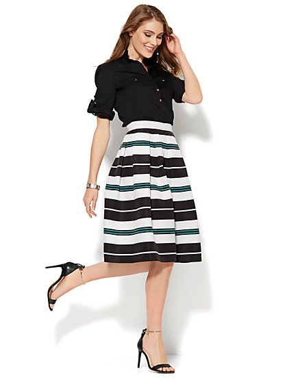 Full Pleated Grosgrain Skirt - Stripe  - New York & Company