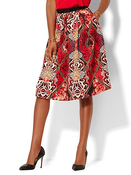 Full Pleated Scuba Skirt - Print - New York & Company
