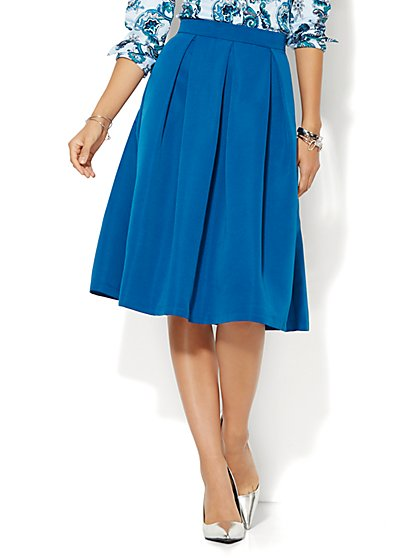 Full Pleated Skirt - Solid - Petite  - New York & Company