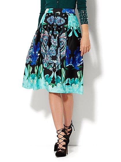 Full Scuba Skirt - Floral/Paisley Print  - New York & Company