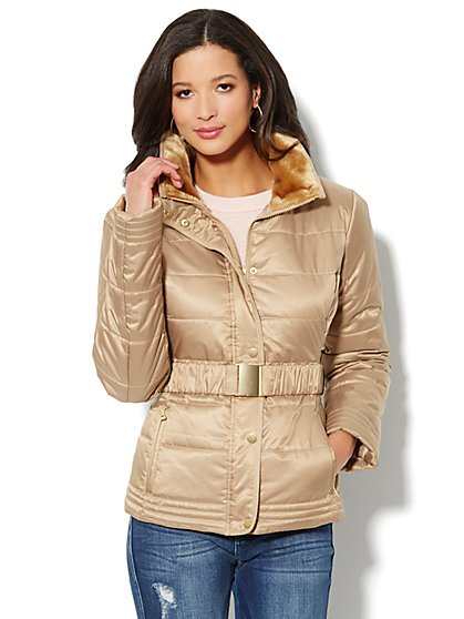 Fur-Trim Belted Puffer Jacket - Gold - New York & Company