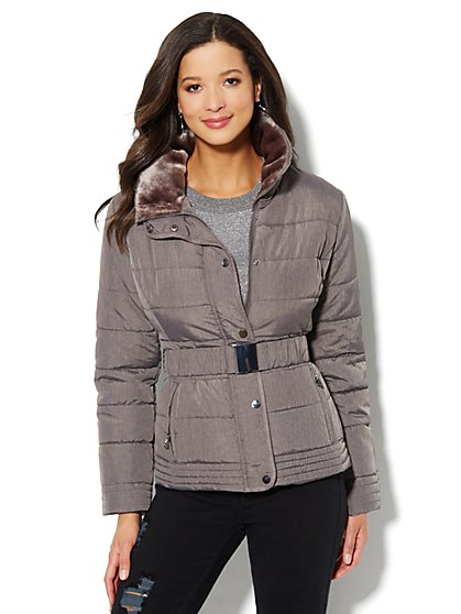 Fur-Trim Belted Puffer Jacket - Grey - New York & Company
