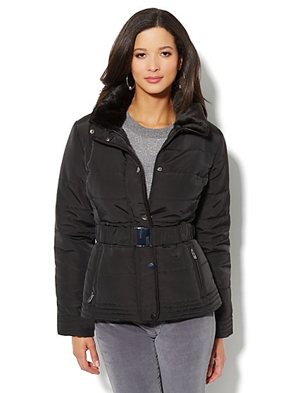 Fur-Trim Belted Puffer Jacket  - New York & Company