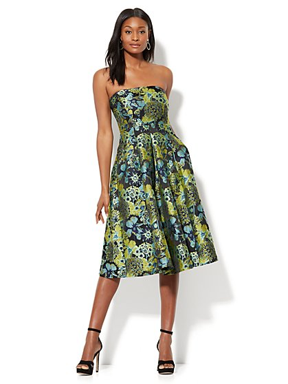Gala Jacquard Strapless Dress - New York & Company