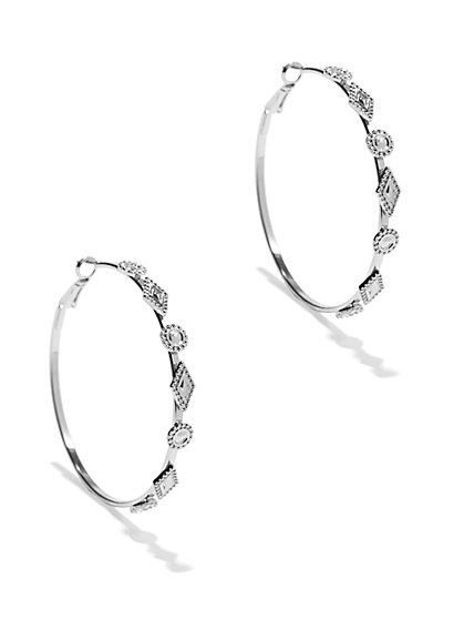 Geo Accent Hoop Earring  - New York & Company