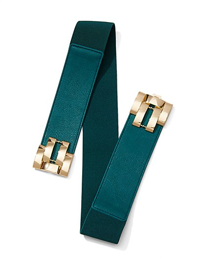 Geo Buckle Stretch Belt  - New York & Company
