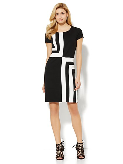 Geo Colorblock Sheath - Black