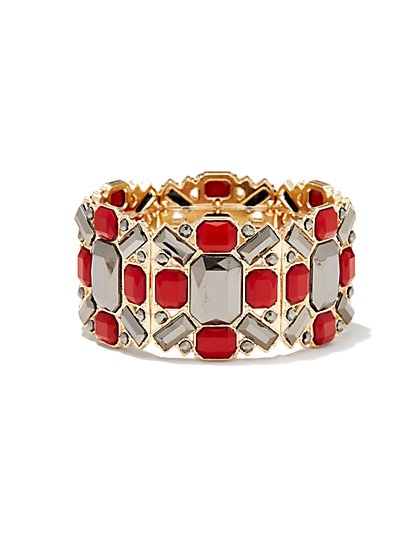 Geo Faux-Stones Stretch Bracelet - New York & Company