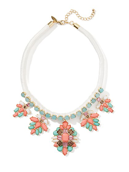 Geo Floral Bib Necklace - New York & Company