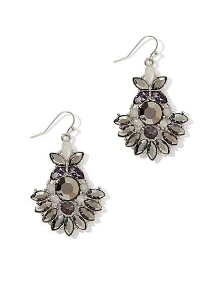 Geo Floral Drop Earring
