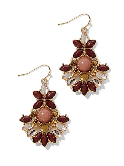Geo Floral Drop Earring - New York & Company