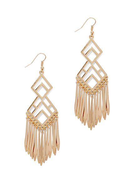 Geo Fringe Drop Earring  - New York & Company