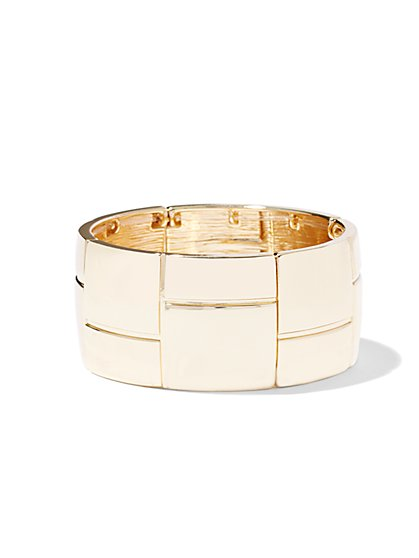Geo Goldtone Stretch Bracelet  - New York & Company