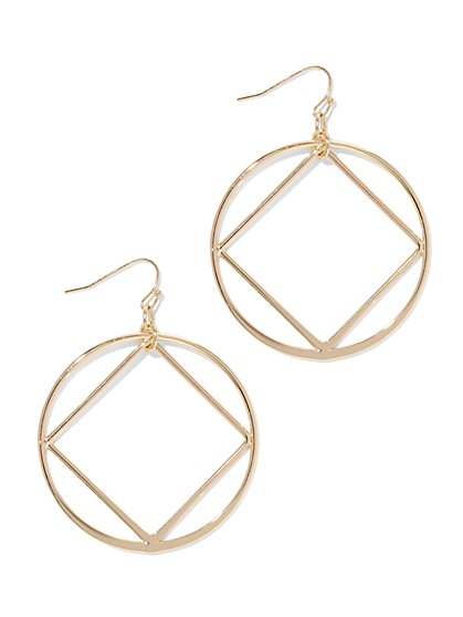 Geo Hoop Drop Earring  - New York & Company