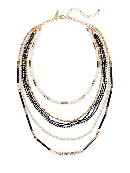 Geo Mixed Chain Necklace  - New York & Company
