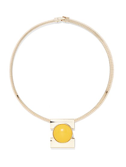 Geo-Pendant Snake Chain Collar Necklace  - New York & Company