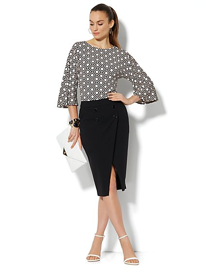 Geo-Print Bell Sleeve Top - New York & Company