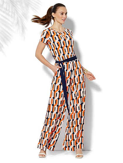 Geo-Print Belted Jumpsuit  - New York & Company