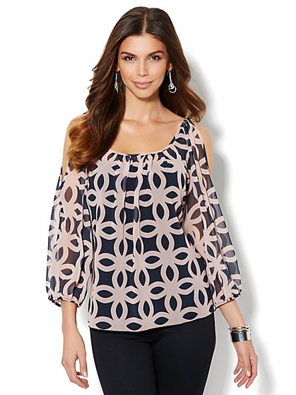 Geo-Print Cold-Shoulder Chiffon Blouse - New York & Company