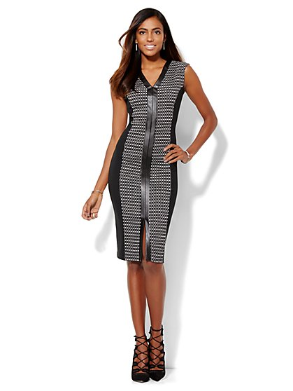 Geo-Print/Faux-Leather Trim Sheath Dress  - New York & Company