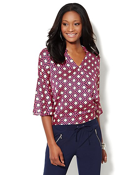 Geo-Print Faux-Wrap Blouse  - New York & Company