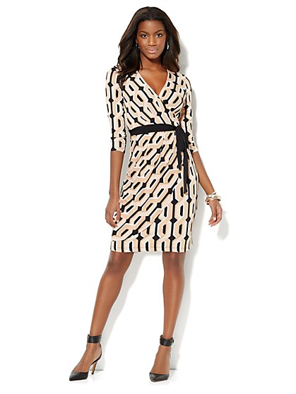 Geo-Print Faux-Wrap Dress - Black - New York & Company