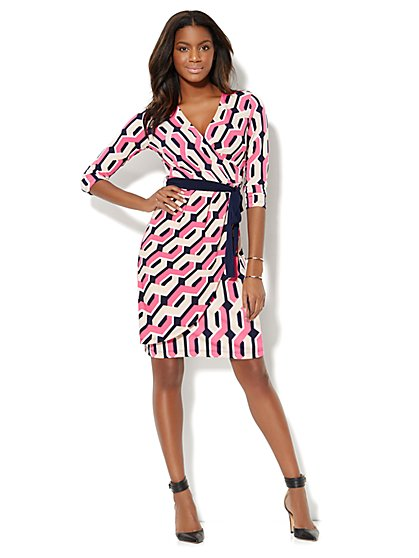 Geo-Print Faux-Wrap Dress  - New York & Company