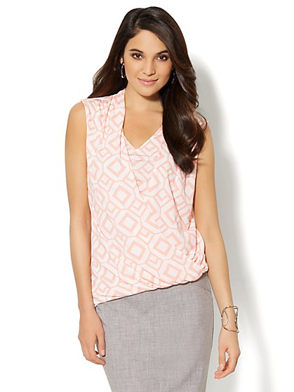 Geo-Print Faux-Wrap Sleeveless Top - New York & Company