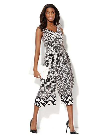 Geo-Print Sleeveless Culotte Jumpsuit  - New York & Company