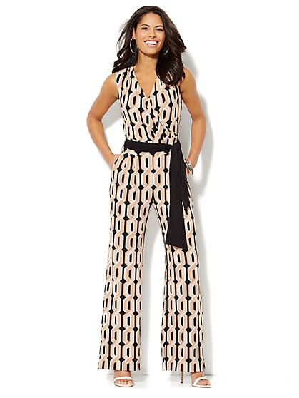Geo-Print Sleeveless Jumpsuit - Black - New York & Company