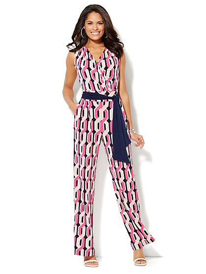 Geo-Print Sleeveless Jumpsuit  - New York & Company