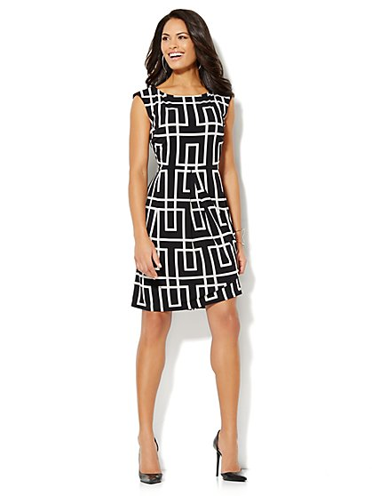 Geo-Print Sleeveless Pleated Dress  - New York & Company