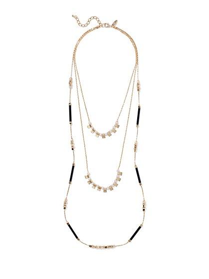 Geo Three-Row Necklace  - New York & Company