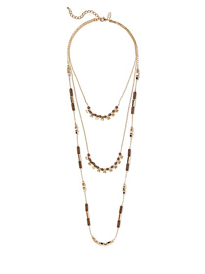 Geo Three-Row Necklace  - New York & Company