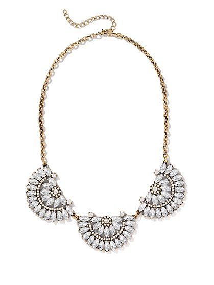 Geo Triple-Flowers Necklace - New York & Company