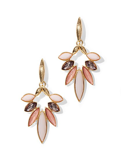 Geometric Floral Drop Earrings  - New York & Company