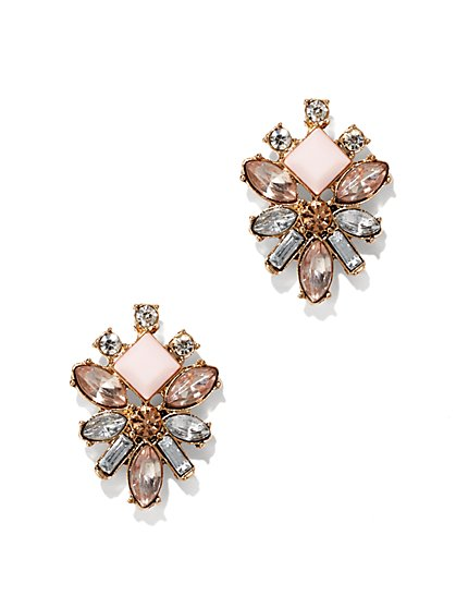 Geometric Floral Post Earring  - New York & Company