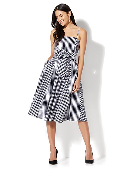 Gingham Fit & Flare Dress - Petite - New York & Company