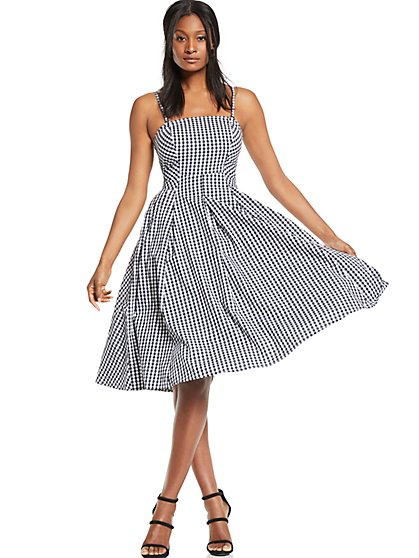 Gingham Fit & Flare Dress - New York & Company