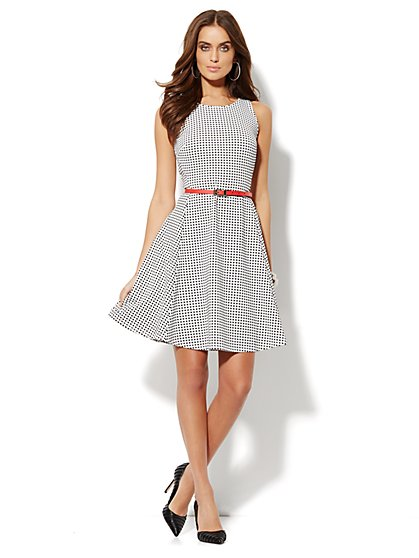 Gingham Sleeveless Flare Dress   - New York & Company