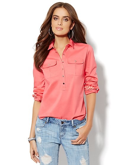 Gingham-Trimmed Popover Shirt - Petite  - New York & Company