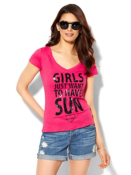 Girls Just Want to Have Sun Logo Tee - New York & Company