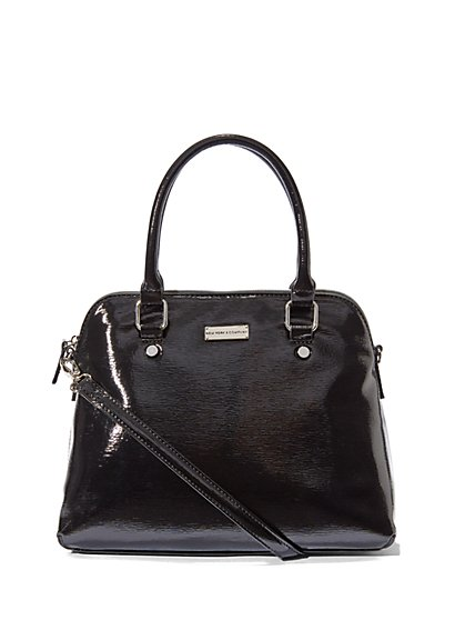 Glazed Faux-Leather Bowler Bag  - New York & Company