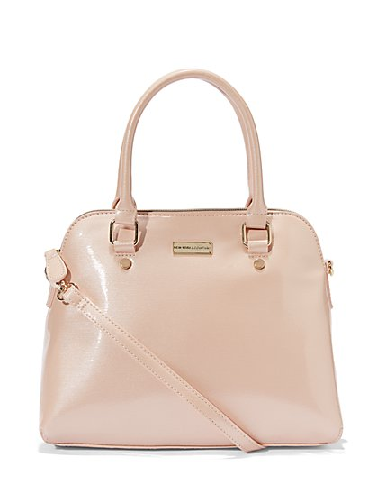 Glazed Faux-Leather Bowler Bag  - New York & Company