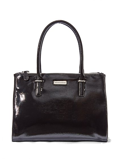 Glazed Faux-Leather Tote  - New York & Company