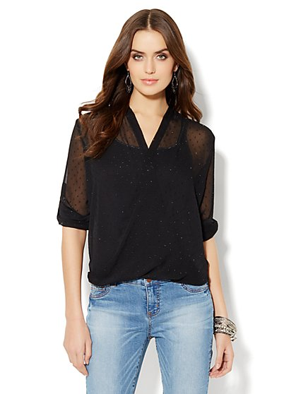 Glitter Clip Dot Faux Wrap-Front Blouse  - New York & Company