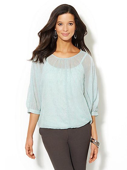 Glitter Dolman-Sleeve Blouse  - New York & Company